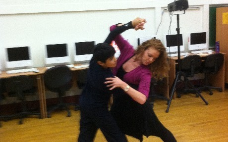 Miss Melissa and David demonstrate the corte while dancing the Tango